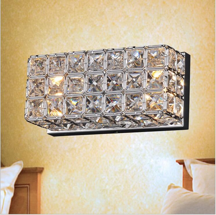 ФОТО L200mm W100mm K9 Crystal wall Lamp luxury Bedroom Bedside Wall Candle K9 crystal wall lamp Wall Scones Free Shipping