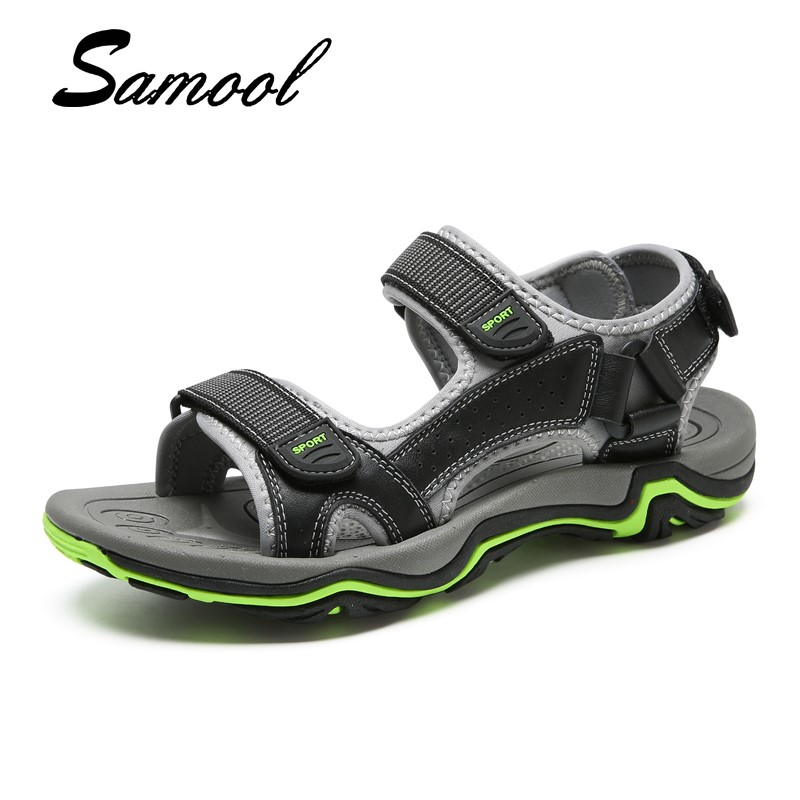 New Fashion Summer Hook Shoes Cow Leather Men Sandals Mens Casual Shoes Non-slip Rubber Soles Beach Shoes Plus Size 38 ~ 45 Gx4