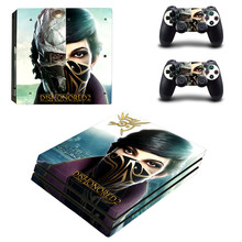 4 Patterns Dishonored Game PS4 Pro Skin Sticker For Sony Playstation 4 Promotion Console & 2Pcs Controller Film Stickers