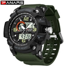 PANARS Outdoor Watch Digital Sport Watches For Men Analog Dual Display Shockproof Waterproof LED Watch Men Alarm Wristwatch Mens