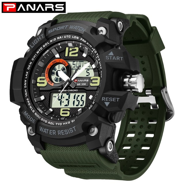 16c161740 PANARS Outdoor Watch Digital Sport Watches For Men Analog Dual Display  Shockproof Waterproof LED Watch Men Alarm Wristwatch Mens