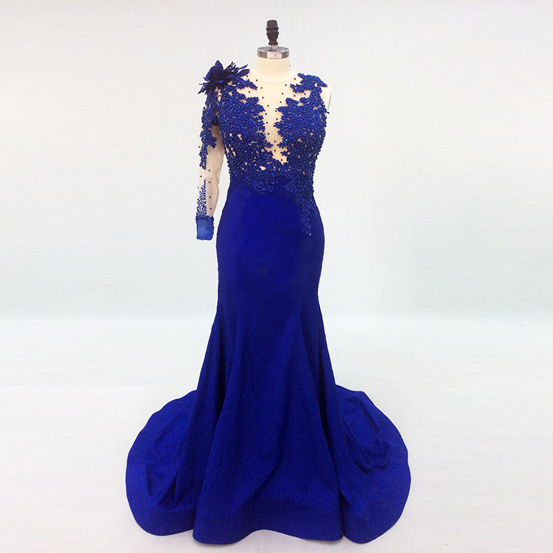 long Evening Dress 2019 Mermaid One Shoulder Long Sleeves Beads Backless Royal Blue Formal Party Gown Prom Dress Robe De Soiree