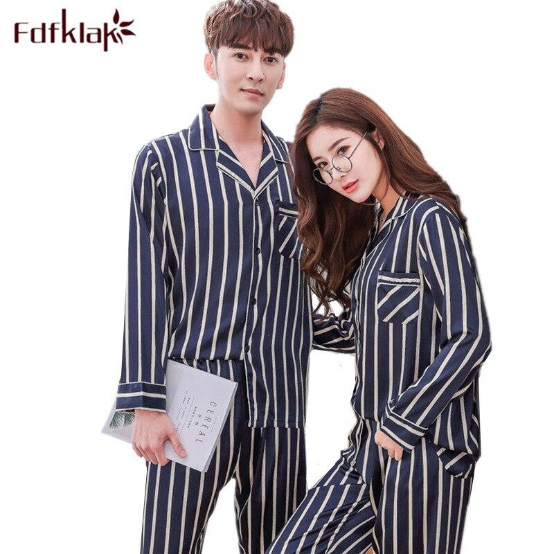 Fdfklak New Couples   Pajamas     Set   Striped Pyjamas Women Silk Satin Pijama Long Sleeve Women's Man Home Suit Sleepwear Pijamas