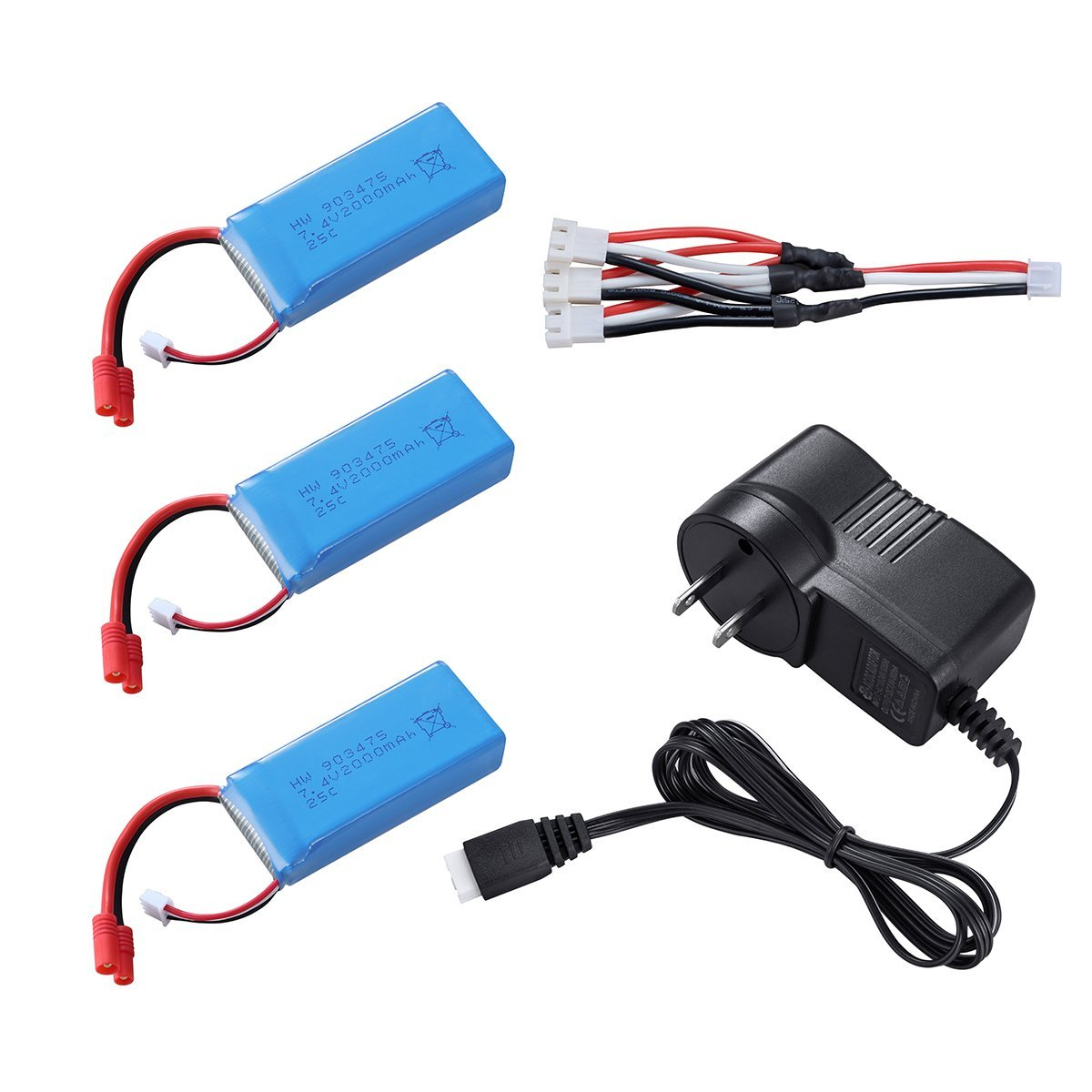 3PCS 2S 7.4V 2000mah Battery Banana Plug for Drone Syma X8C X8W X8G RC Quadcopter with AC Charger and 3in1 Cable 3pcs battery and european regulation charger with 1 cable 3 line for mjx b3 helicopter 7 4v 1800mah 25c aircraft parts