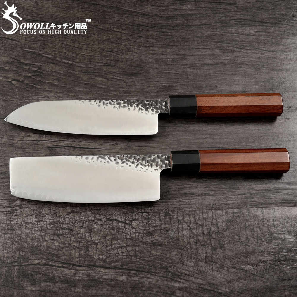 SOWOLL 2pcs Damascus Chopping Santoku Knife VG10 Handmade Forged Japanese Knife Kitchen Chef Knives Very Sharp Nakiri Cleaver