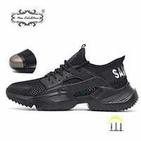 Nouvelle exposition travail chaussures de sécurité 2019 mode baskets Ultra-léger doux bas hommes respirant Anti-fracassant acier orteil bottes de travail