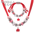 MANBALA Red Flower Pendant Necklace and Charm Bracelet Women Wedding Bridal Jewelry Sets Girls Best New Year Gifts Jewelry 900AR