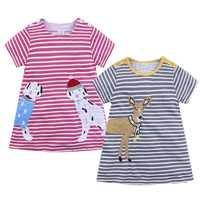 Girls Cotton Dress Striped Animal 2019 casual Summer Princess Dress A-Line Kids Tales Children Costume for Kids Dresses
