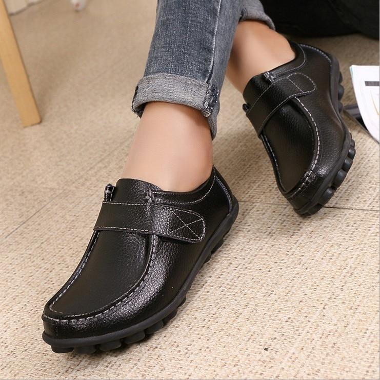 Large Size women Casual Shoes 2017 Genuine Leather Mother women Shoes Casual Shoes Driving Shoes Oxfords Nurse