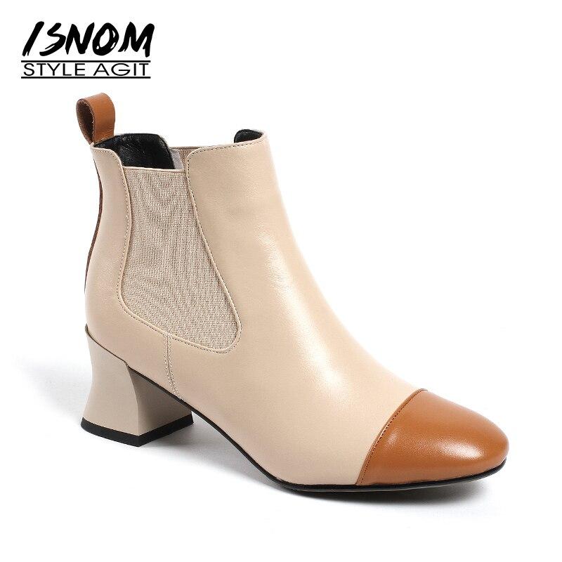 Carré Dames Nouveau D'hiver Boot black Isnom Véritable Talons Chaussures apricot Black Hauts En Bottines apricot Noir Bout 2018 Cuir Femmes SxYnCwqpB