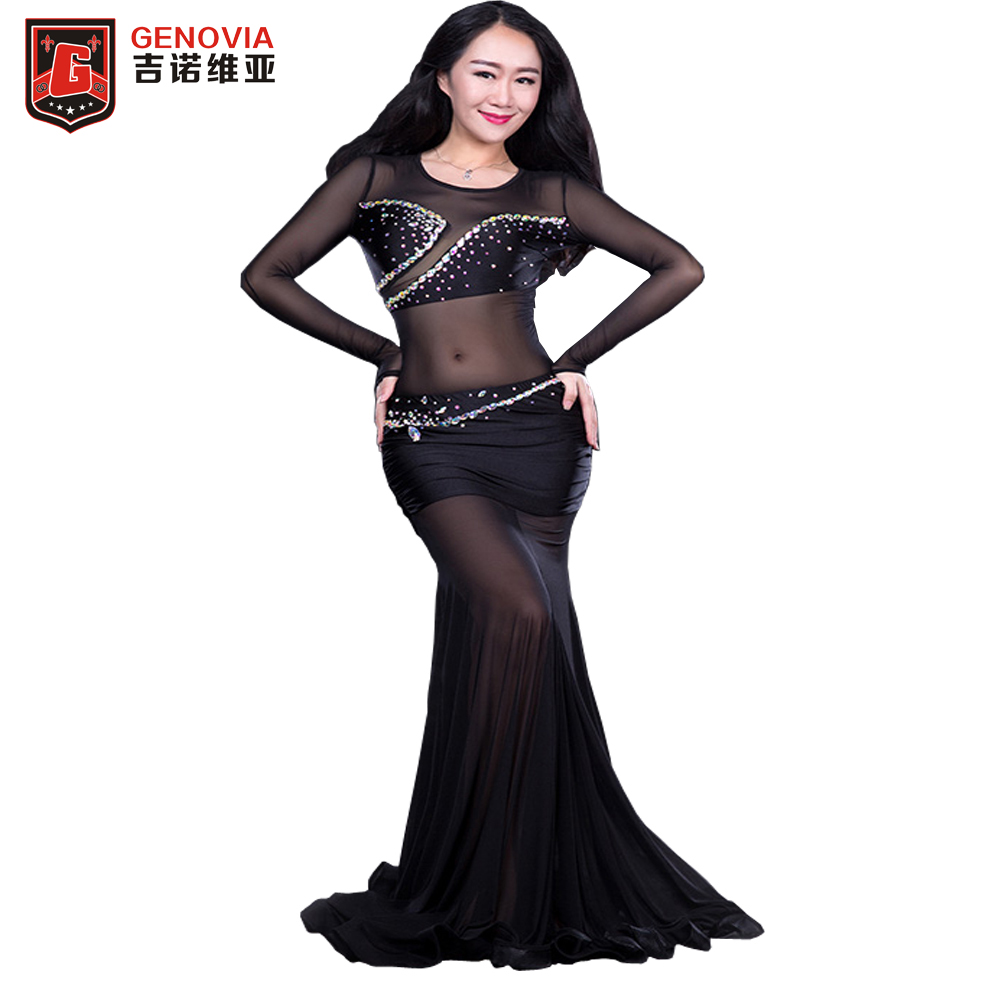 Women Oriental Dance Belly Dance Costume Suits Club Stage One-piece Long Skirt Dress Sexy Women Club Long Mermaid Dress club style one shoulder black long beaded sleeve dress for women