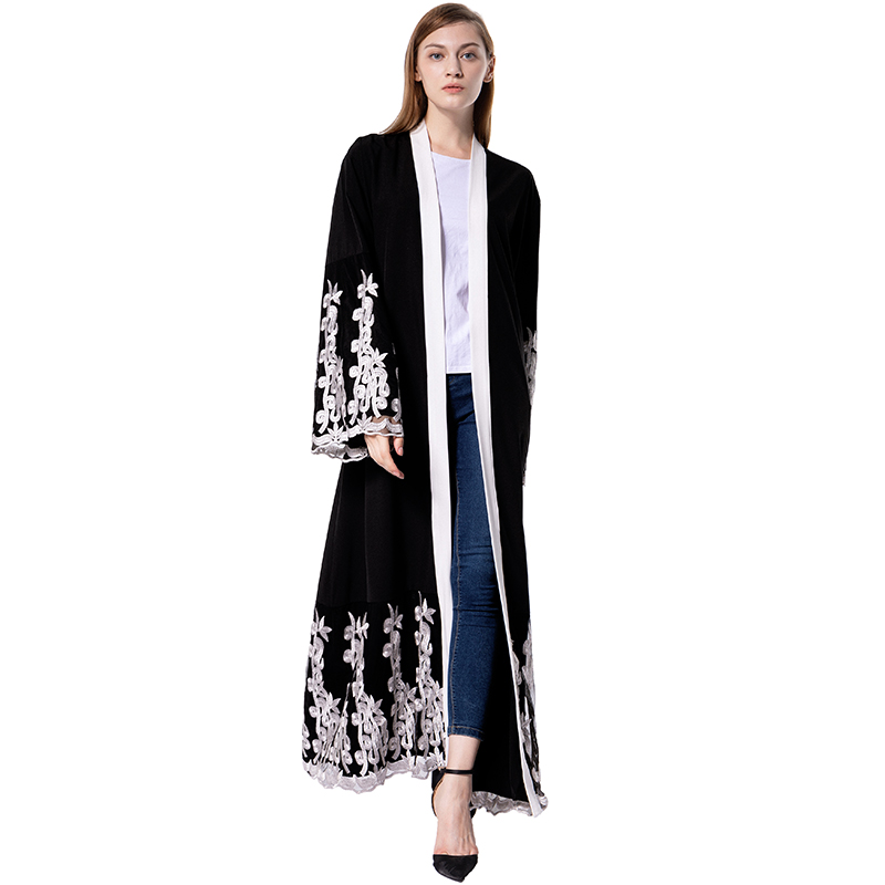 vintage women muslim long robe femme floral embroidery contrast color kimono open front long. Black Bedroom Furniture Sets. Home Design Ideas