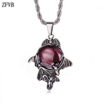 c775e0dce21f ZFVB de moda de los hombres murciélago vampiro colgantes collares de cadena  de acero inoxidable Punk Bat collar y colgante de joyería de las mujeres  regalos