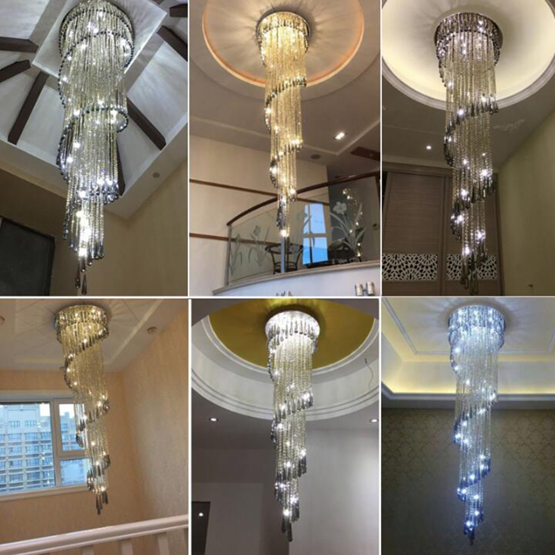 Image 5 - Modern Chandelier For Smoky Gray Crystal Luxury Fixtures Long Interior Stairway Lighting Corridor Chandelier Villa light-in Chandeliers from Lights & Lighting
