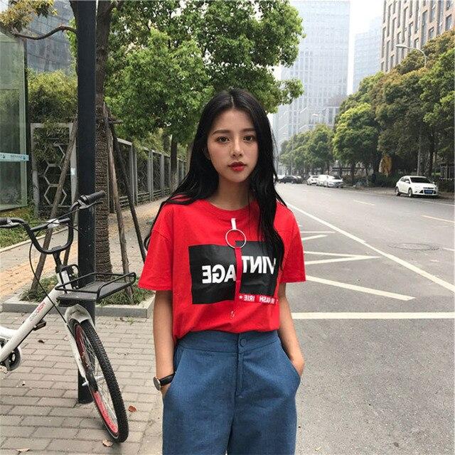 2e4574cac9 Korean Fashion Casual Summer Tops T Shirt Tumblr 2018 Harajuku Lolita Style  Loose Top Tees Harajuku Schoolgirl Streetwear L'691