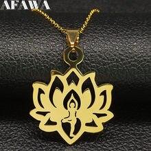 Collier en acier inoxydable Lotus de YOGA pour femmes, chaîne dorée, bijoux, N18562, 2021