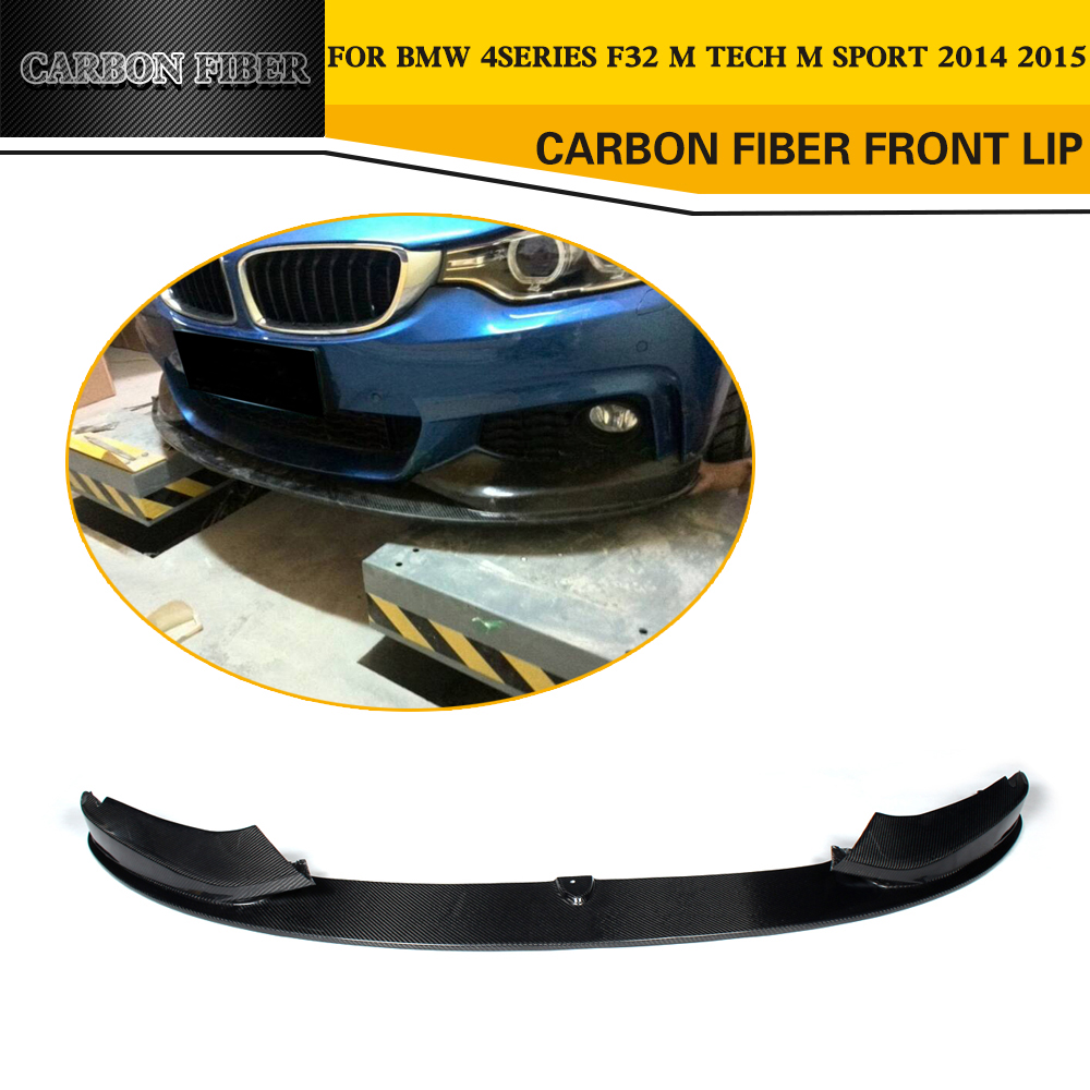 Car Style Carbon Fiber Racing Front Lip Splitter for BMW 4 Series F32 M Sport Bumper 2014UP carbon fiber auto front lip splitter flags for bmw 4 series f32 f33 435i m sport coupe
