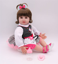 Super cool Bebe Reborn Doll 20inch/50cm Soft Silicone Girl Toy Reborn Baby Doll  Gift for Children Pink White Dress Girl цены
