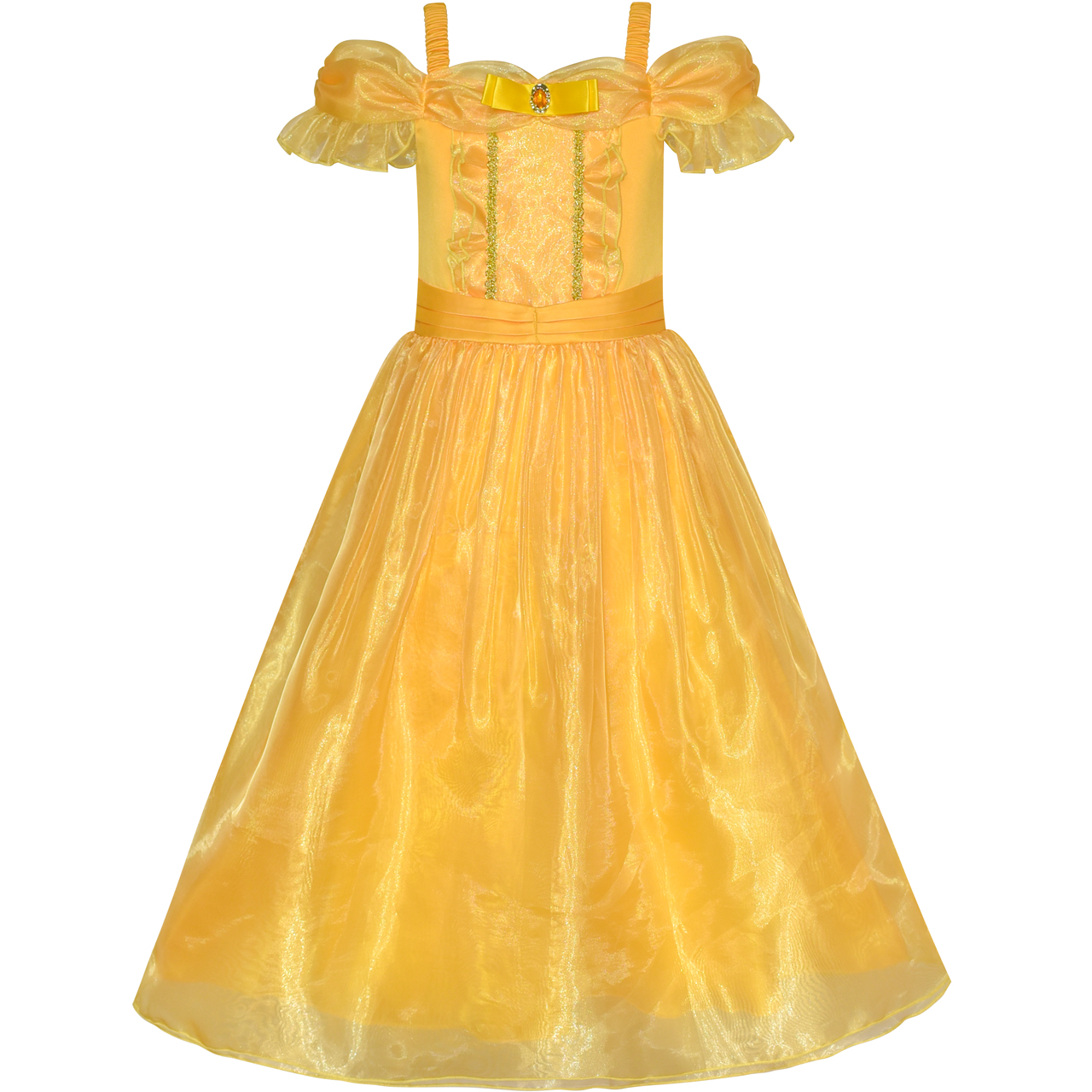 Sunny Fashion Princess Belle Costume Dress Up Girls Dress Yellow 2018 Summer Wedding Party Dresses Kids Clothes Size 4-12 sunny fashion girls dress birthday cupcake polka dot birthday princess 2018 summer wedding party dresses kids clothes size 3 8