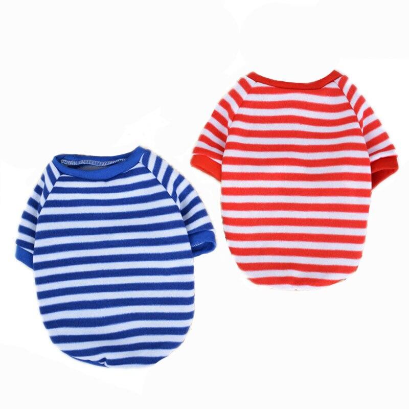 Pet Clothes Cat Puppy Dog Hoodies Coat Cute Stripe Small Dog T Shirt Vest Soft Doggy Apparel XS S M L XL Blue Red
