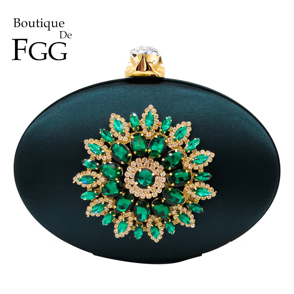 Boutique De FGG Women's Fashion Flower Crystal Clutch Handbag and Purse Ladies Evening Bags Wedding Party Chain Shoulder Bag(China)