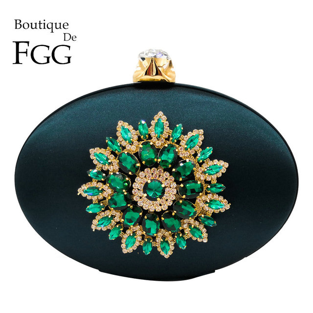 Boutique De FGG Women's Fashion Flower Crystal Clutch Handbag and Purse Ladies Evening Bags Wedding Party Chain Shoulder Bag