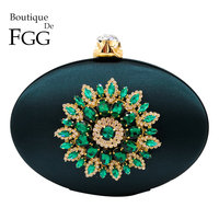 Boutique De FGG Women's Fashion Flower Crystal Clutch Handbag and Purse Ladies Evening Bags Wedding Party Chain Shoulder Bag