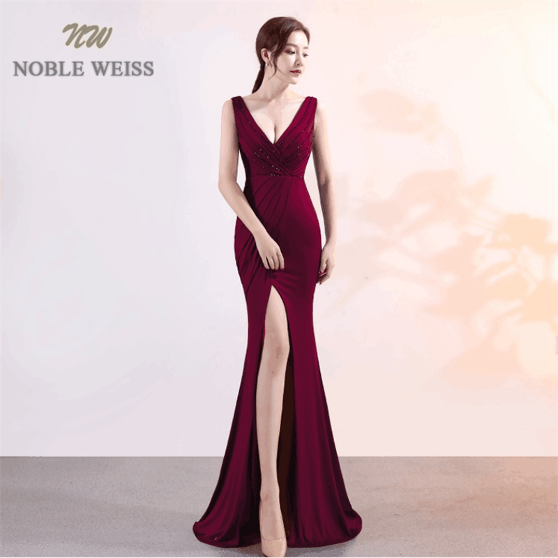 NOBLE WEISS Elegant Prom Dress Satin  Deep V Neck Sexy Thigh High Slits  Corset High Quality Evening Wear Formal Party Gowns