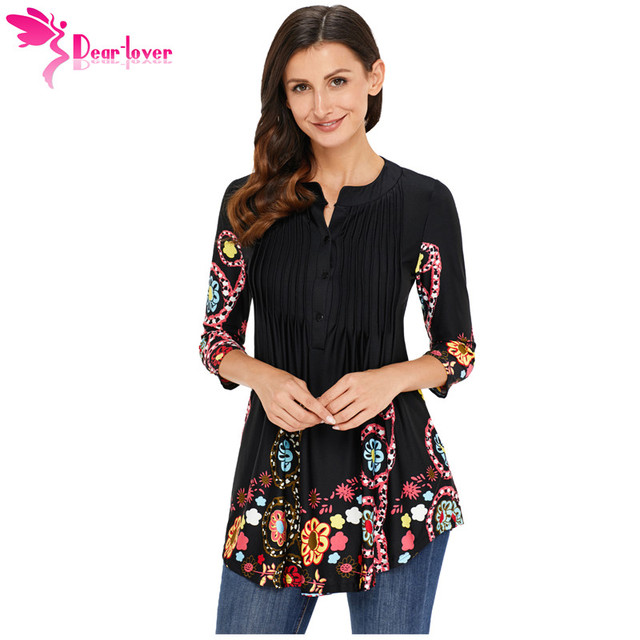 06e7463d190908 Dear Lover Women Blouse Casual Autumn Shirt Floral Notch Neck Pin-tuck Tunic  Tops Office Ladies Work Wear Chemise Femme LC250370