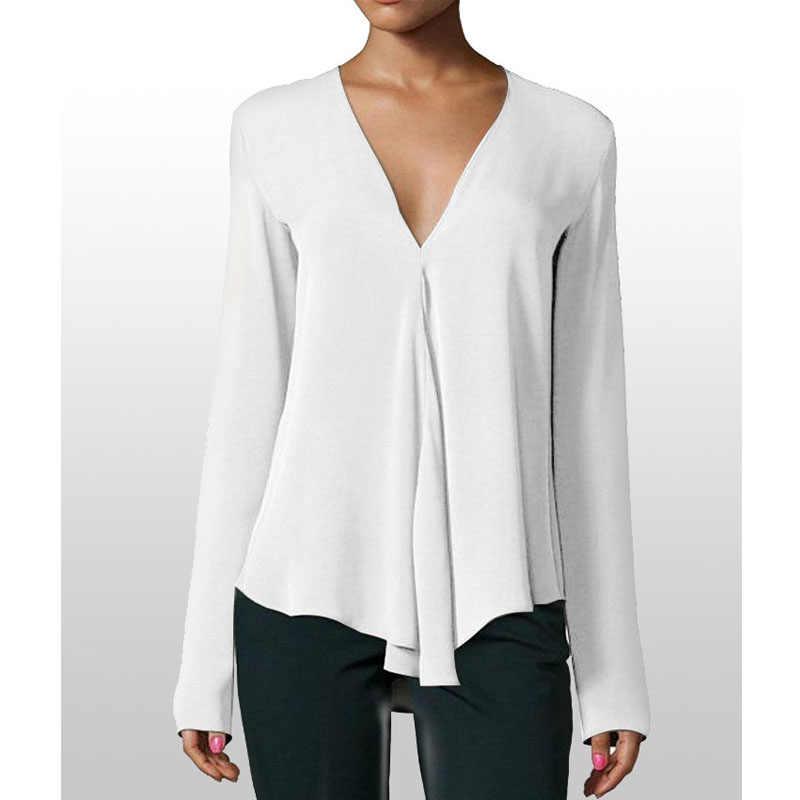 047bfa1ac24 ... Осенняя винтажная женская шифоновая блузка с v-образным вырезом с длинным  рукавом Женская Туника Повседневная