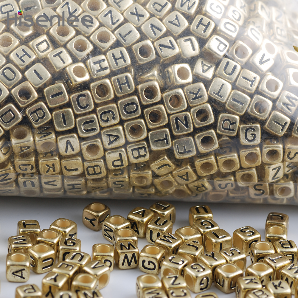 Hisenlee High Quality 200pc 6x6mm 3.5MM Hole Mixed Alphabet Ancient - Fashion Jewelry - Photo 5