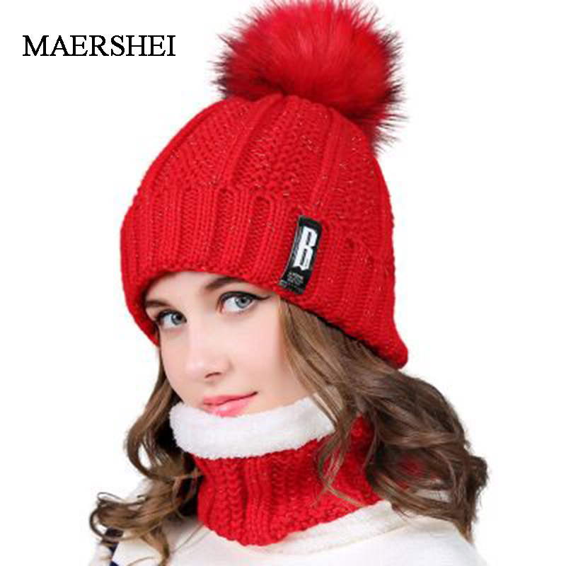 MAERSHEI 2019 New Pom Poms Winter Hat For Women Fashion Solid Warm Hats Knitted Beanies Cap Brand Thick Female Cap Wholesale