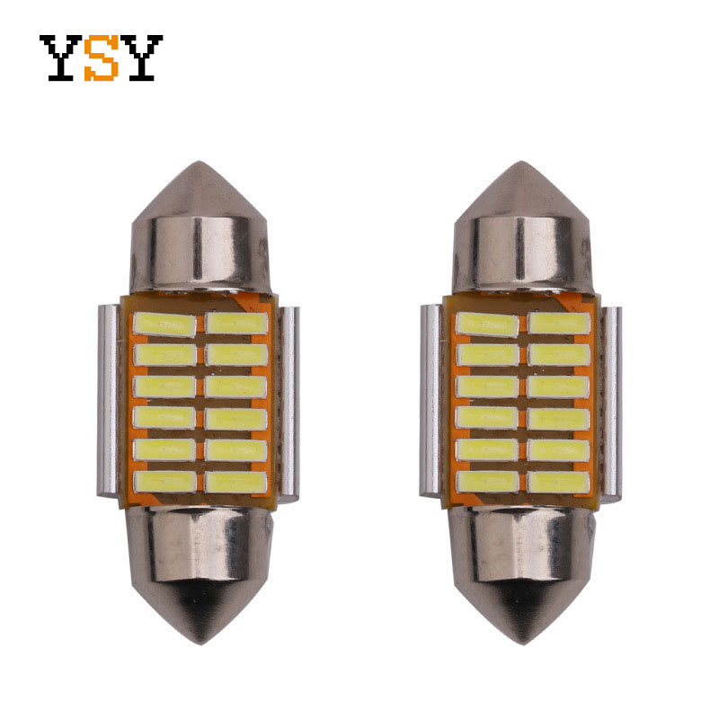 1pcs 28mm/31mm/36mm/39mm/41mm 12SMD 4014 Wedge LED Bulb C10W C5W Festoon Mirror Dome Reading Door Number Lamp White/Ice Blue