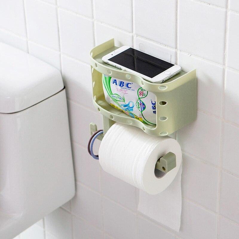 Seamless Suction Wall Shelf Creative Toilet Paper Towel Rack ...