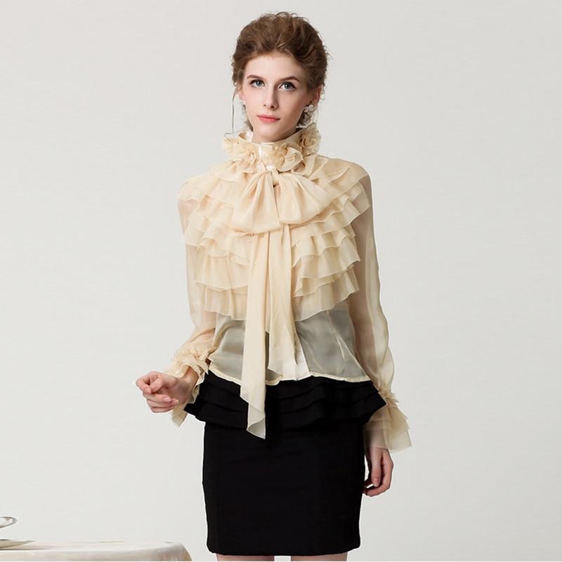 חדשה באיכות גבוהה אופנה 2019 מעצב חולצת נשים של ארוך שרוול Bow מדורג לפרוע חולצה חולצה למעלה