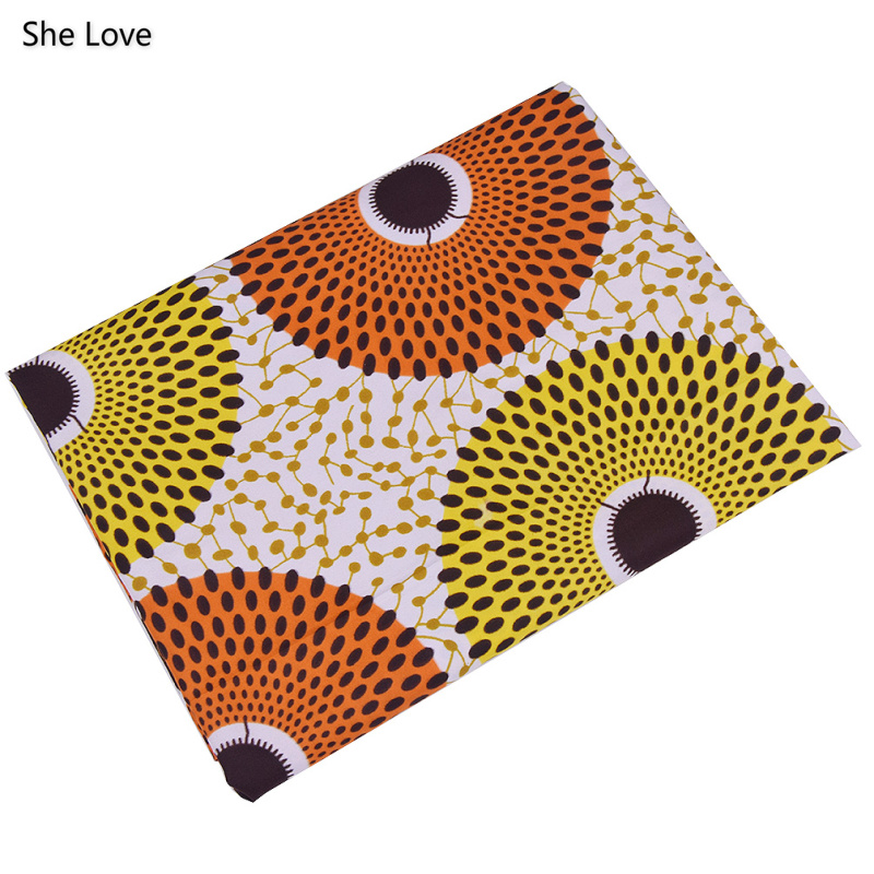 She Love 1 Yard Ankara African Polyester Wax Prints Fabric  DIY Material For Garments Craft Making Accessories 6