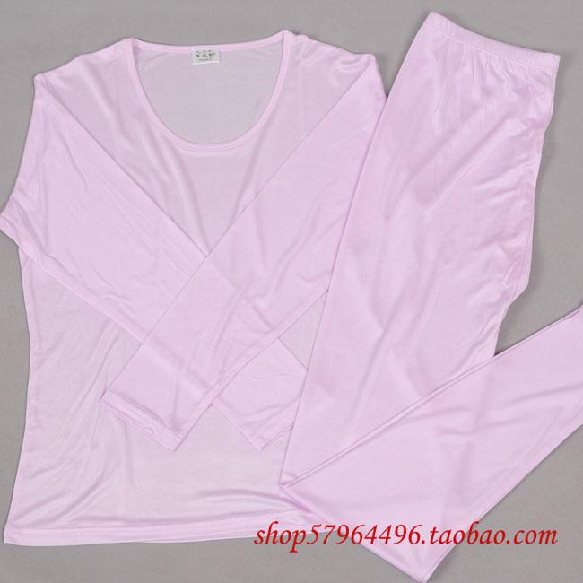 New Autumn And Winter Women's Silk Underwear Set Mulberry Silk Double Faced O-neck Knitted Silk Underwear