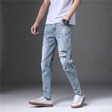 20065306a6 2019 para Hombre de moda agujero vaqueros Slim Homme Hombre hombres rayado  Denim Pants Streetwear joven Hombre Skinny pantalón C..