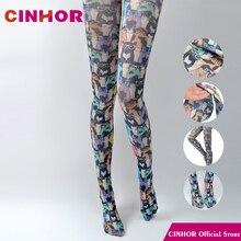 CINHOR очки, Чулки с кошкой, весна и осень, тонкие женские колготки в стиле Харадзюку, устойчивые к разрыву бедра