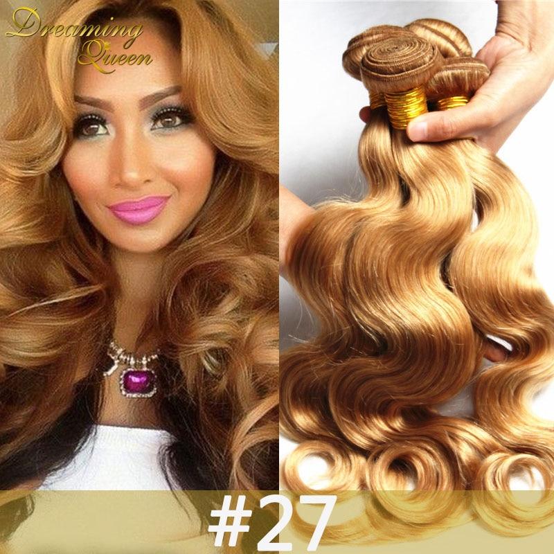 #27 Blonde Hair 8A Perivuan Virgin Hair 3 Bundles Peruvian Body Wave Human Hair Weave Unprocessed Virgin Ombre Hair Extensions