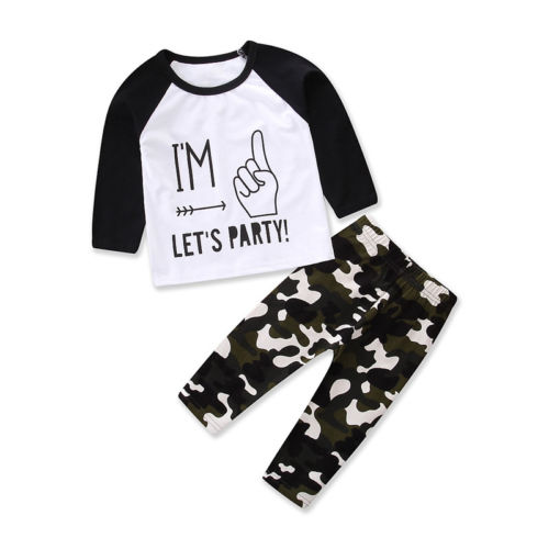 6M-5Y Camouflage baby boys clothes set 2pcs Newborn Baby Boy Toddler Long sleeve Tops + Pants Outfits Set Clothes