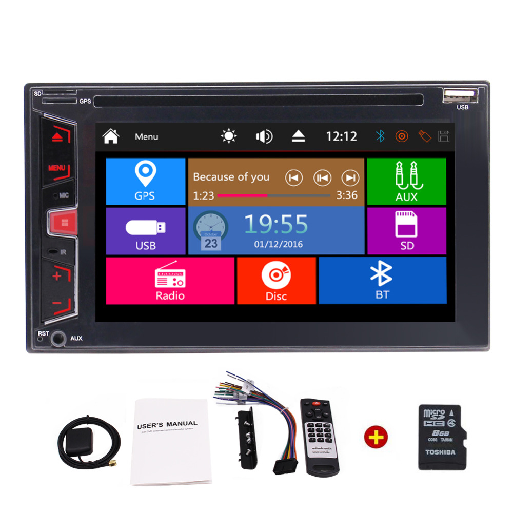 Touch Screen Car Stereo two 2 Din Radio Car Audio Head Unit Car DVD Player In Dash GPS Navigation AM/FM/RDS Bluetooth Subwoofer 1din 8gb gps audio stereo single 1din car radio digital touchscreen cpu headunit fm am rds receiver subwoofer aux car dvd player