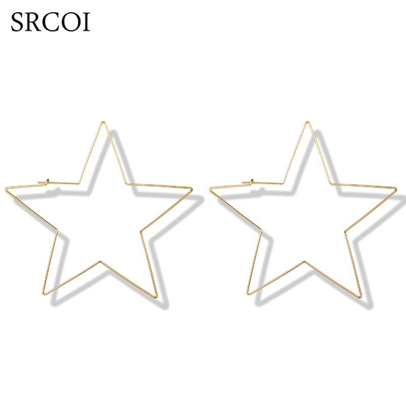 SRCOI Minimalist Personalized Big Star Hoop Earrings Hollow ...