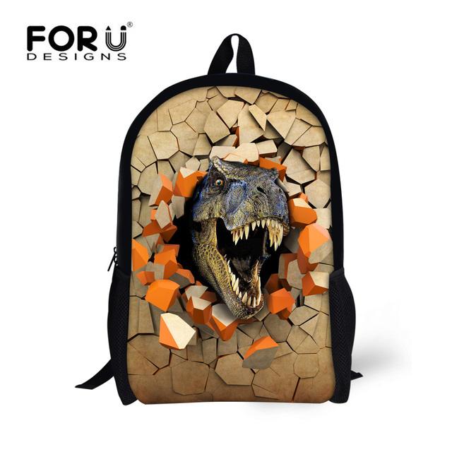 FORU DESIGNS 3D Printing 6 Cool Dinosaur School Bags Students Backpacks for Children  Boys Bookbags Medium Size Mochila Escolar 6b1c439e8d