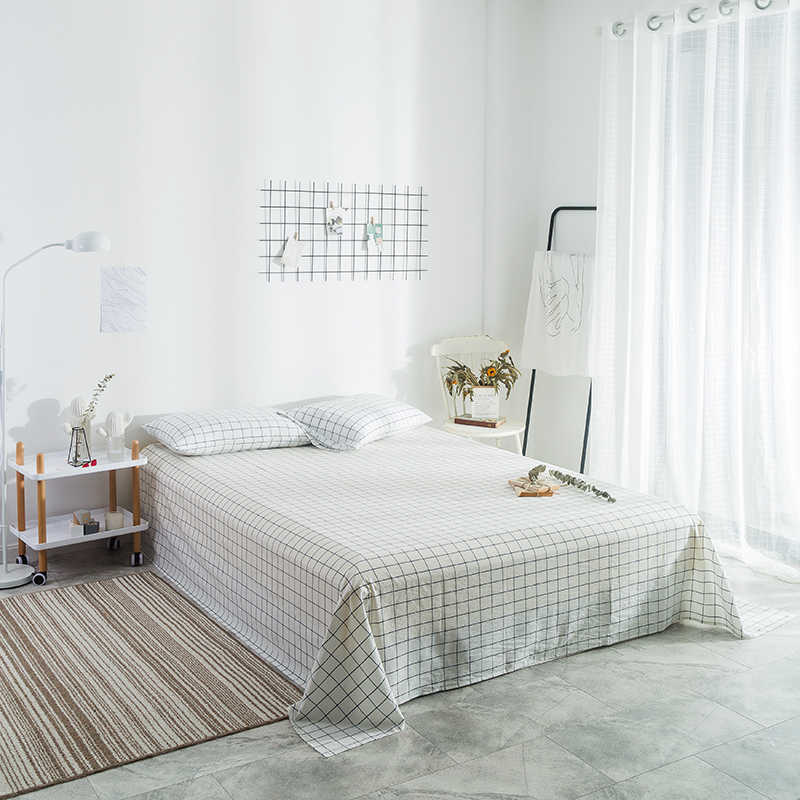 Simple Beige Plaid Pattern Flat Bed Sheet King Size Cotton Blend Printed Queen Size Flat Sheets Plain Bed Sheets With PillowcaseSimple Beige Plaid Pattern Flat Bed Sheet King Size Cotton Blend Printed Queen Size Flat Sheets Plain Bed Sheets With Pillowcase