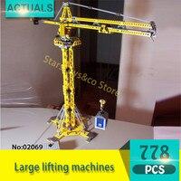 Technic Series 02069 1016Pcs Large Lifting Machines Model Building Blocks Set Bricks Toys For Children Gift