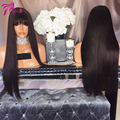 150% Density Silky Straight Full Lace Human Hair Wigs With Bangs Glueless Lace Front Wigs  Brazilian Virgin Hair For Black Women