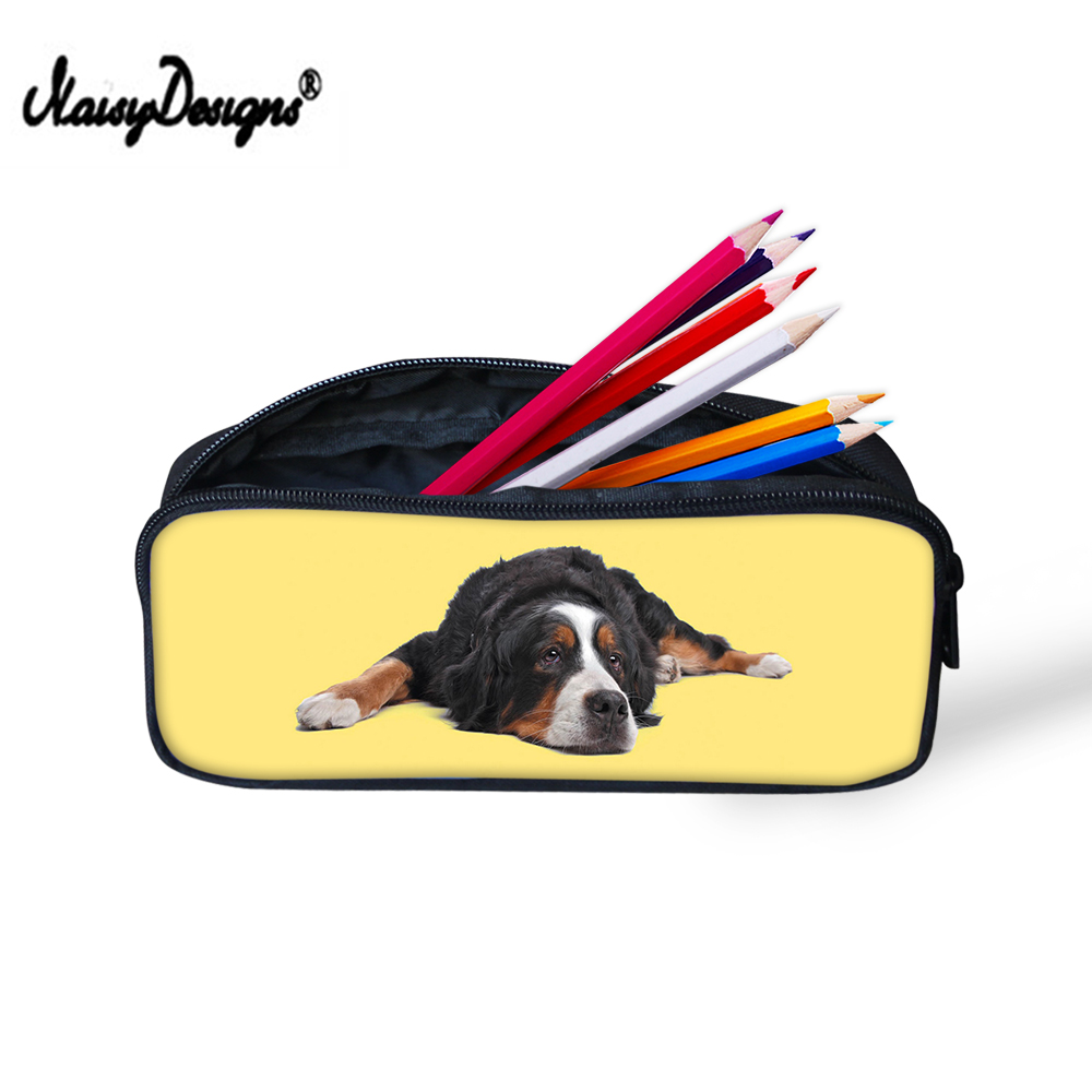Cute Bernese Dog Pen Student Case Portable Pencil Holder Office Stationery Case Pouch Earphone Male Makeup Storage Bag Customize