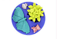 New wholesale hot sale Butterfly Flower Bearchocolate silicone mold fondant Cake decoration mold chocolate mold