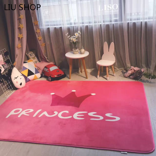 Online Shop LIU Coral fleece pink crown princess carpet suede velvet ...